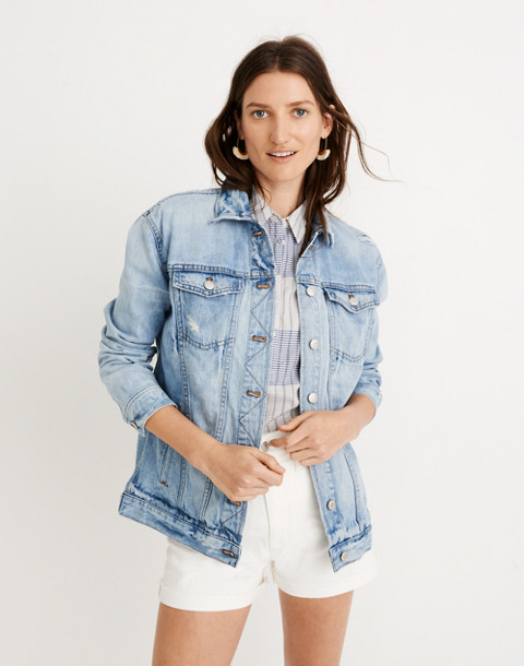 The Oversized Jean Jacket in Junction Wash: Distressed Edition in junction wash image 1