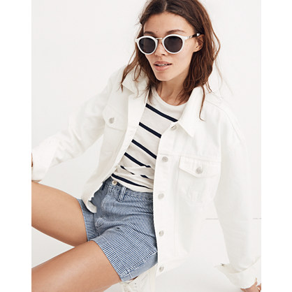 The Boxy-Crop Jean Jacket in Tile White