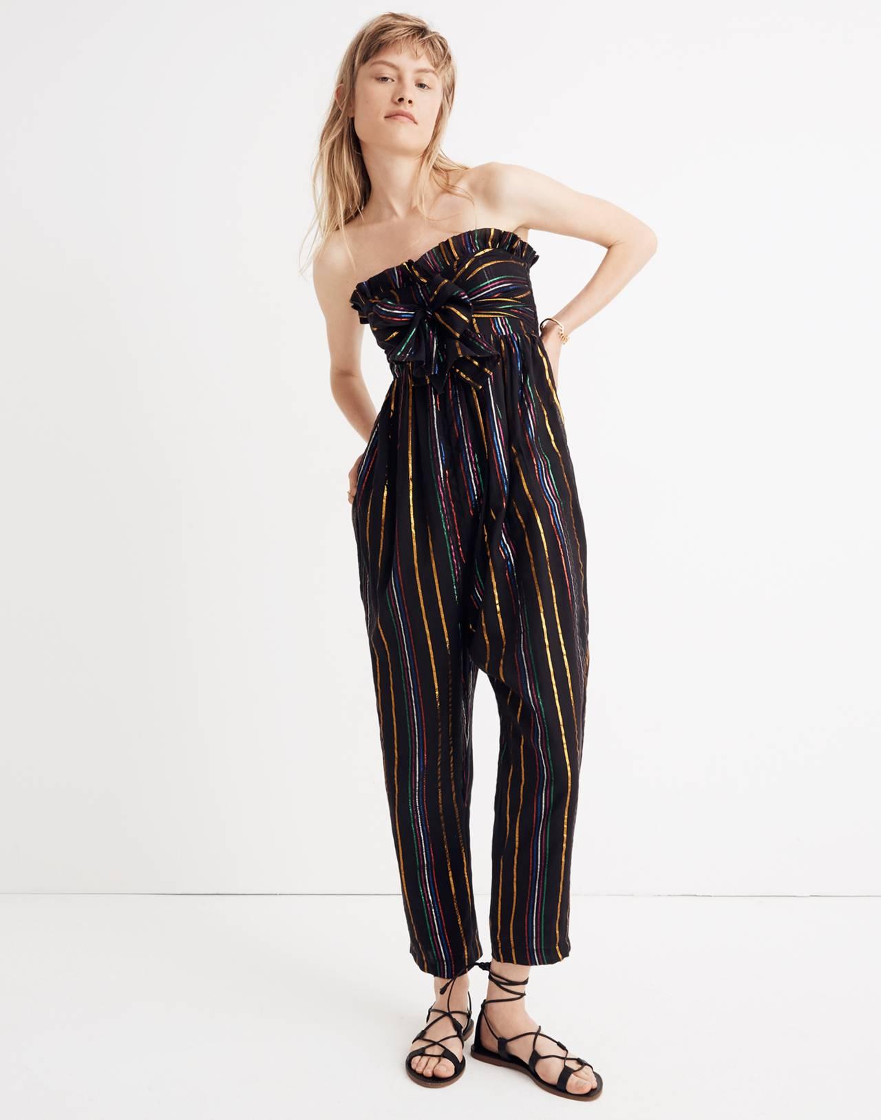 Apiece Apart™ Striped Zaza Gipsea Jumpsuit in black fez stripe image 1