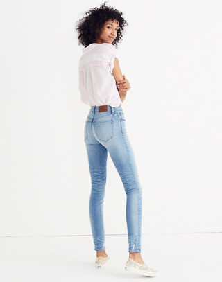 "9"" High-Rise Skinny Jeans: Destructed-Hem Edition in cliff wash image 2"