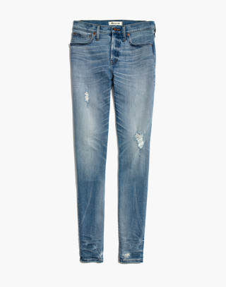 "9"" High-Rise Skinny Jeans: Destructed-Hem Edition in cliff wash image 4"