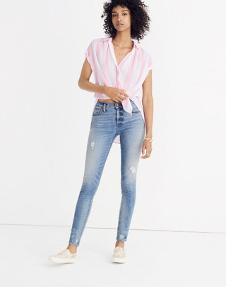 "9"" High-Rise Skinny Jeans: Destructed-Hem Edition in cliff wash image 1"