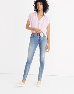 "Short 9"" High-Rise Skinny Jeans: Destructed-Hem Edition"