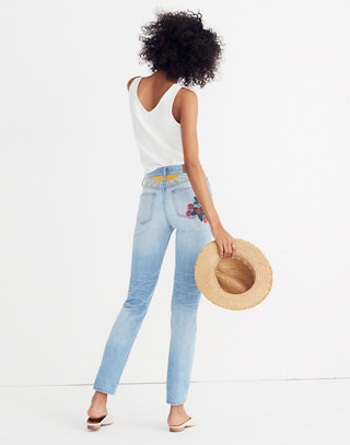 The Petite Perfect Summer Jean: Strawberry Embroidered Edition in dolores wash image 1