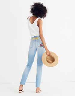 The Tall Perfect Summer Jean: Strawberry Embroidered Edition