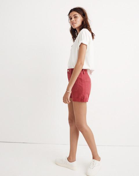 High-Rise Denim Shorts: Garment-Dyed Edition in dark rosette image 2