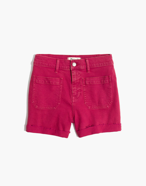 High-Rise Denim Shorts: Garment-Dyed Edition in dark rosette image 4
