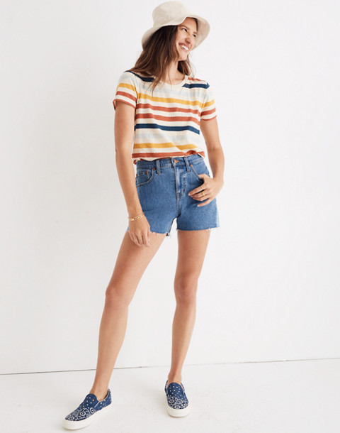 High-Rise Denim Shorts: Pieced Edition in wylie wash image 2