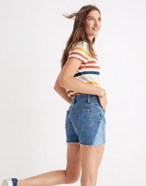 High-Rise Denim Shorts: Pieced Edition in wylie wash image 1
