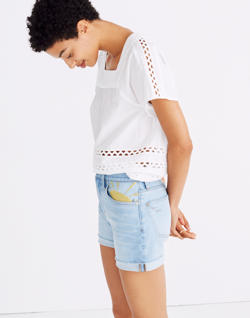 High-Rise Denim Shorts: Sun Embroidered Edition