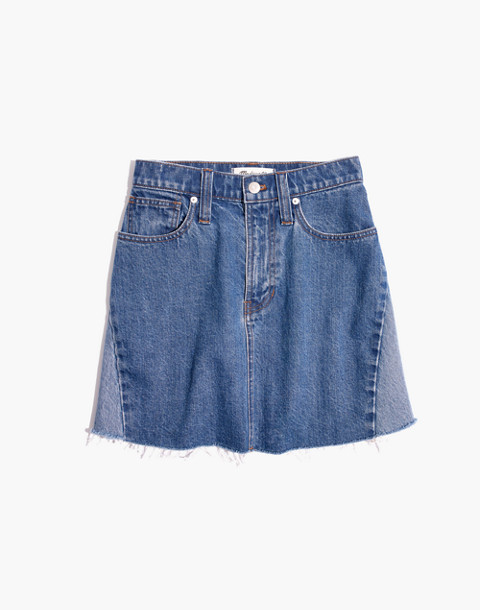 Rigid Denim A-Line Mini Skirt: Pieced Edition