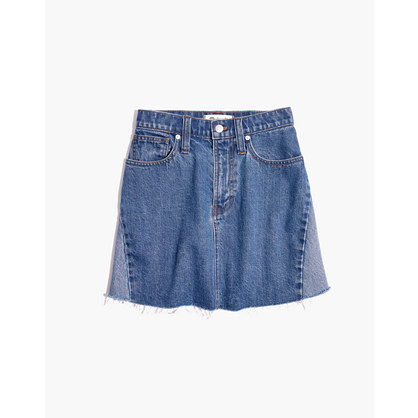 Rigid Denim A Line Mini Skirt: Pieced Edition by Madewell