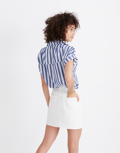 Stretch Denim Straight Mini Skirt in Tile White: Button-Front Edition