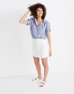 Button-Front Straight Jean Skirt in Tile White