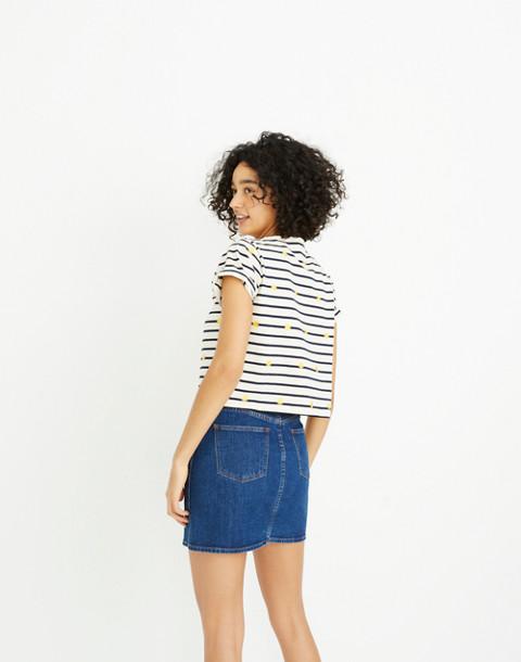 Stretch Denim Straight Mini Skirt in Arroyo Wash: Button-Front Edition in annetta wash image 3
