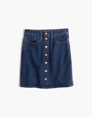 Stretch Denim Straight Mini Skirt in Arroyo Wash: Button-Front Edition