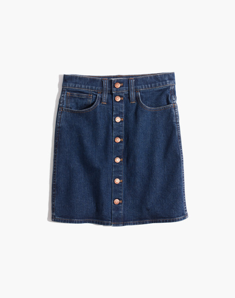 Stretch Denim Straight Mini Skirt in Arroyo Wash: Button-Front Edition in annetta wash image 4