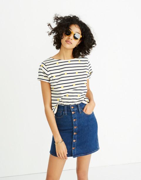 Stretch Denim Straight Mini Skirt in Arroyo Wash: Button-Front Edition in annetta wash image 1