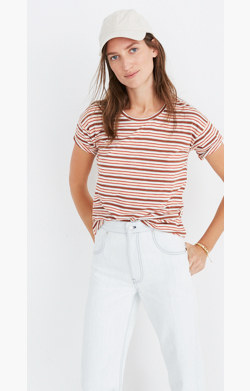 Whisper Cotton Crewneck Tee in Cordoba Stripe