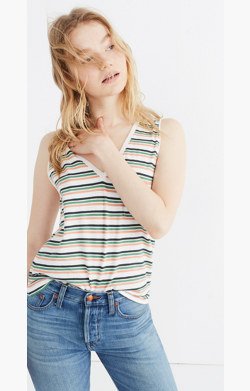 Whisper Cotton V-Neck Pocket Tank in Roger Stripe