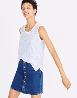 Whisper Cotton Crewneck Muscle Tank in Murphy Stripe