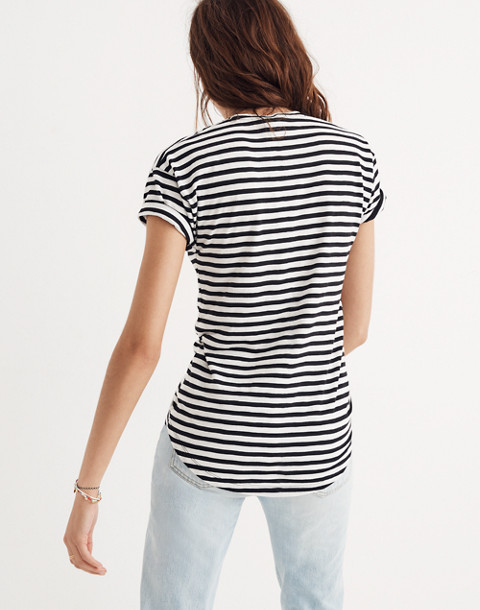 Whisper Cotton Crewneck Tee in Sallie Stripe