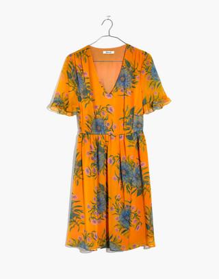Sweetgrass Ruffle-Sleeve Dress in Painted Blooms in van greek gold image 4