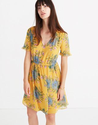 Sweetgrass Ruffle-Sleeve Dress in Painted Blooms in van greek gold image 1
