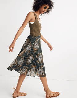 Pleated Midi Skirt in Painted Blooms