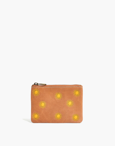 The Leather Pouch Wallet: Sun Embroidered Edition in burnished caramel image 1