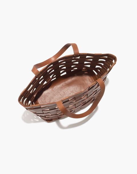 The Medium Transport Tote: Basketweave Edition in english saddle image 2