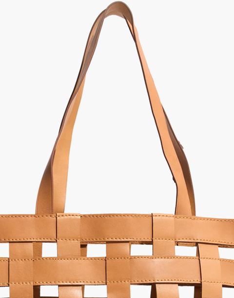 The Medium Transport Tote: Basketweave Edition in desert camel image 4