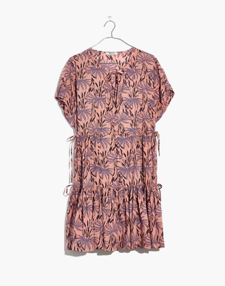 Button-Front Tiered Dress in Oasis Palms