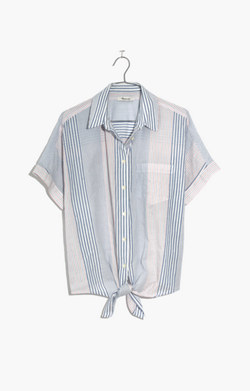 Short-Sleeve Tie-Front Shirt in Rawley Stripe