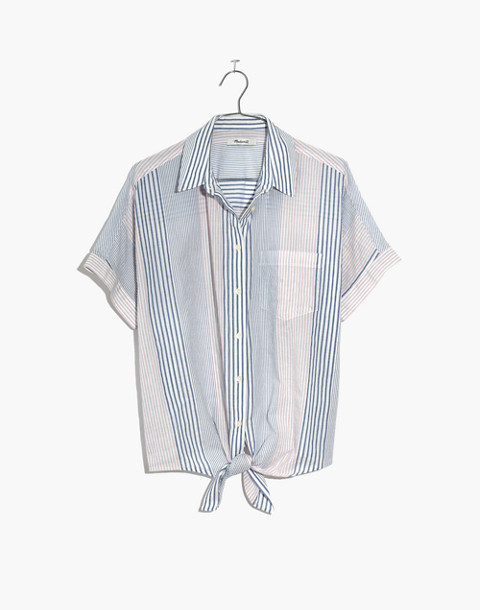 Short-Sleeve Tie-Front Shirt in Rawley Stripe in tulum blue image 4
