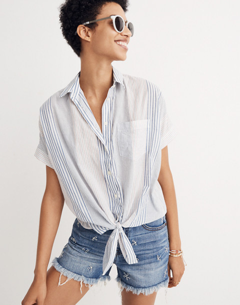 Short-Sleeve Tie-Front Shirt in Rawley Stripe in tulum blue image 1
