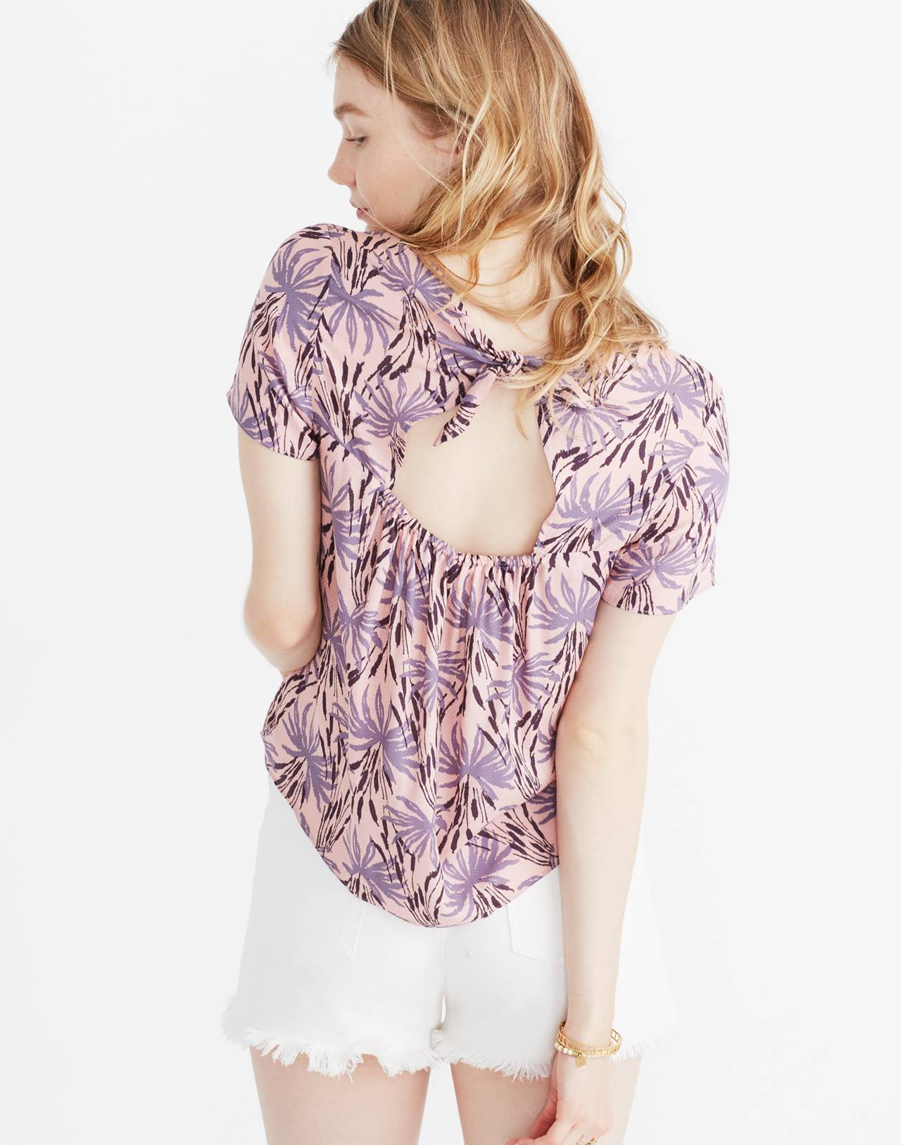 Tie-Back Cutout Top in Oasis Palms in moss navy image 2