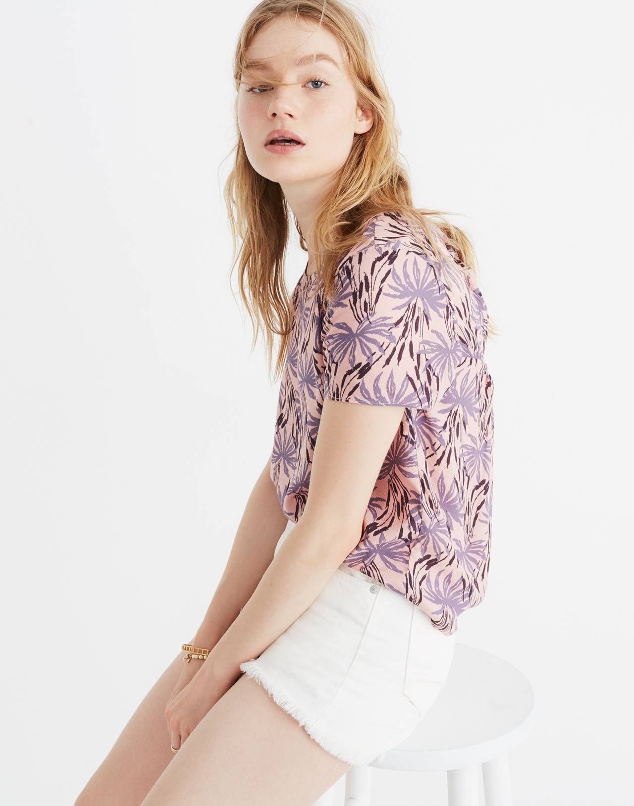 Tie-Back Cutout Top in Oasis Palms in moss navy image 1