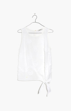 Embroidered Side-Tie Tank