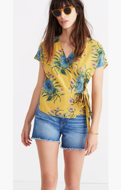 Silk Kimono Wrap Top in Painted Blooms