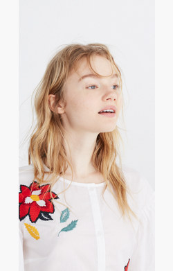Embroidered Babydoll Button-Down Shirt