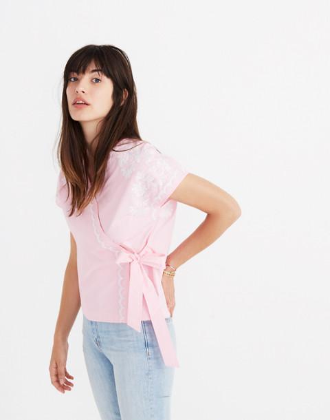 Embroidered Kimono Wrap Top