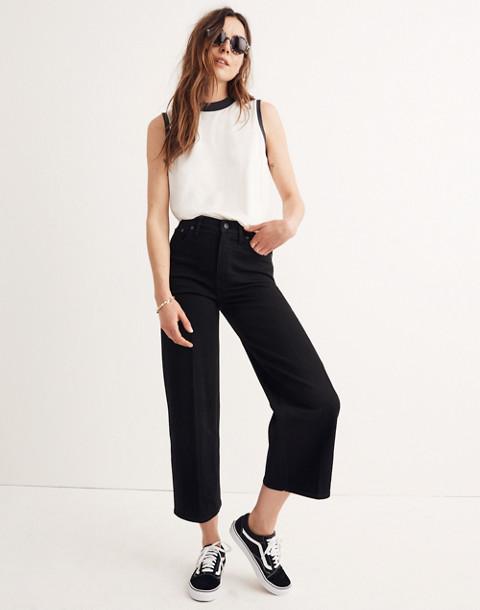 Wide-Leg Crop Jeans in Black Frost