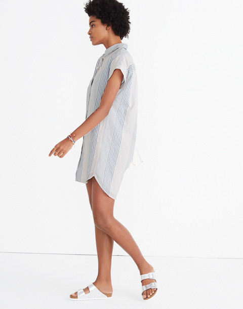 Central Shirtdress in Rawley Stripe in tulum blue image 3