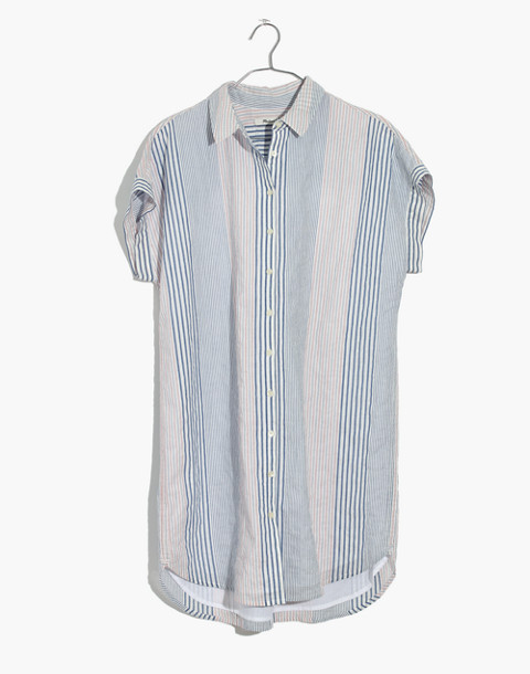 Central Shirtdress in Rawley Stripe in tulum blue image 4