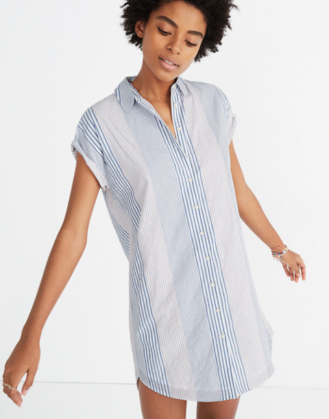 Central Shirtdress in Rawley Stripe in tulum blue image 1