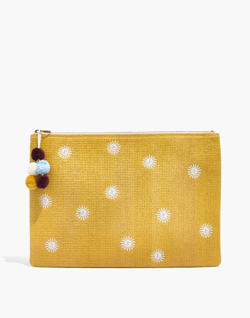 Oversized Embroidered Straw Pouch