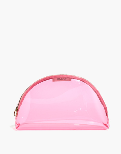 Large Crystalline Half-Moon Pouch in retro pink crystal image 1