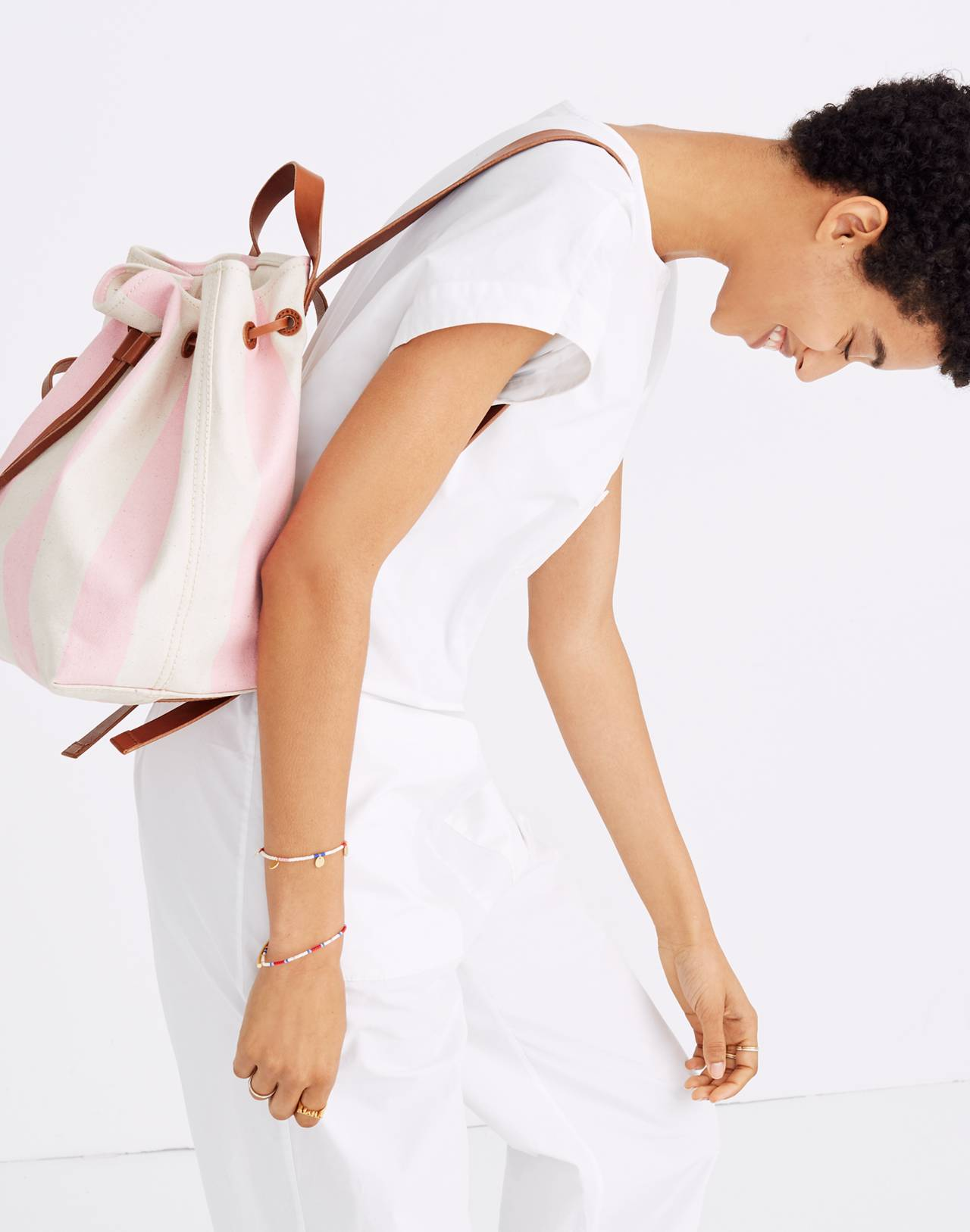 The Canvas Somerset Backpack in Stripe in petal pink stripe image 2