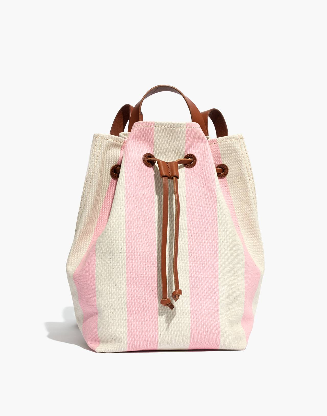 The Canvas Somerset Backpack in Stripe in petal pink stripe image 1